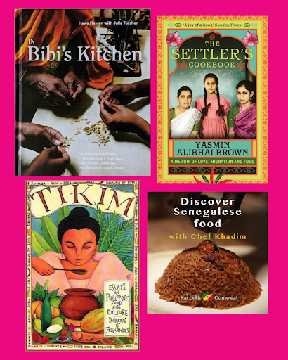 Collage of In Bibi's Kitchen, The Settlers Cookbook, Tikim and Discover Senegalese Food