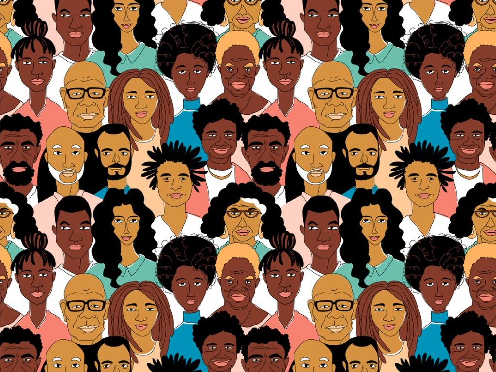 illustration of Black people of all ages, shades and sizes