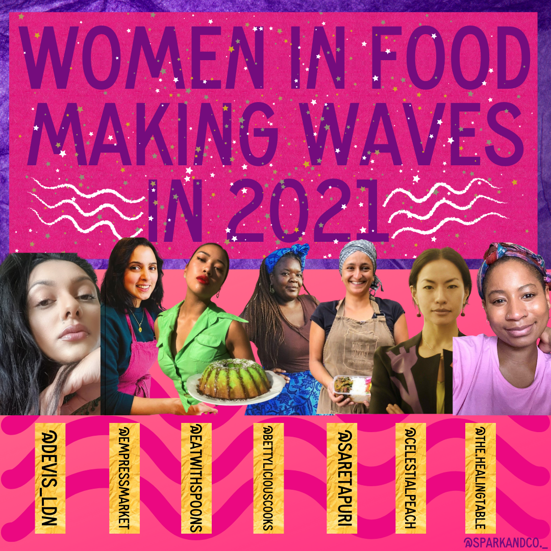 Article header for women in food making waves in 2021, coral background and images of 7 women.