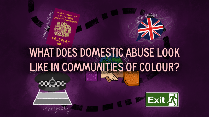 Purple background with illustrative icons including a EU passport, Police cap, British flag in a speech bubble, Exit sign, hands holding. The icons surround text in white: What Does Domestic Abuse Look Like in Communities of Colour?