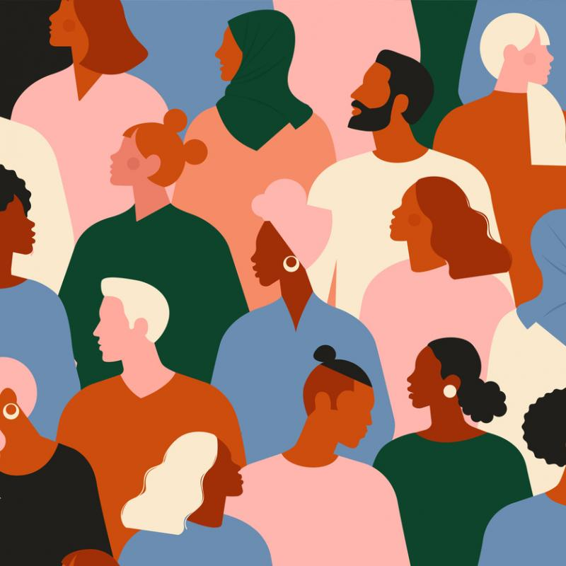 illustration of a diverse group of people looking to the side- faceless.